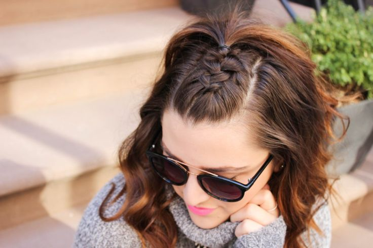 {Hask Hair Party | Simply Audree Kate} Half-up Half-down french braid undo with curls on a lob hairstyle