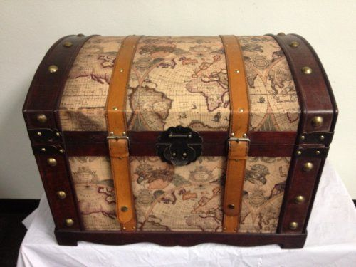 World Map Decorative Antique Style Wooden Storage Trunk Hf 006 A By Huafeng Trading Inc 86 99 Size 24 4 X 17 7 62cm 45cm