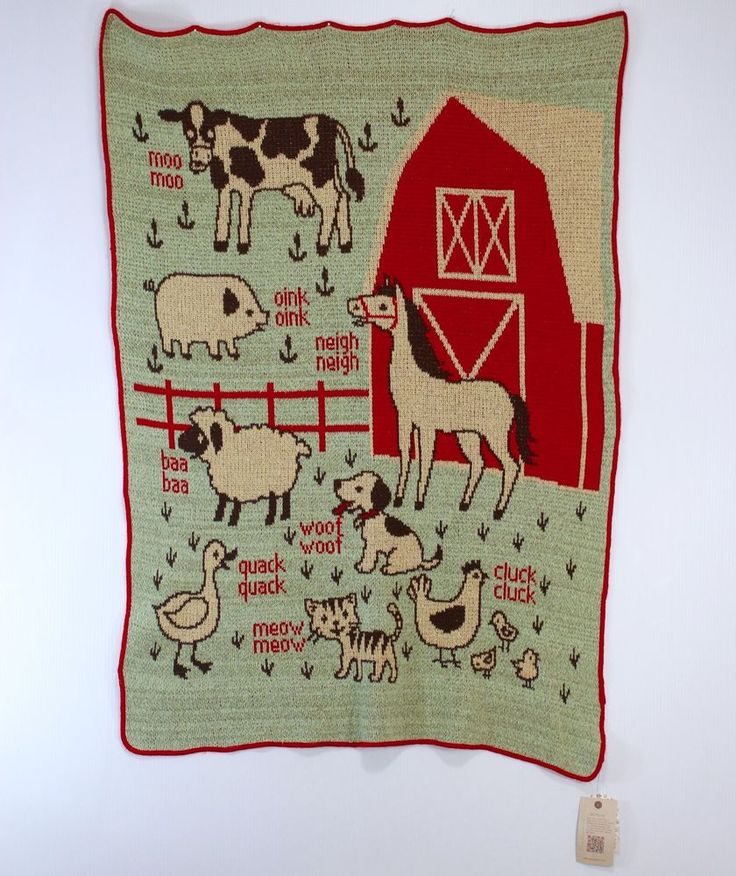 """NWT Farm Throw Blanket Vermont Country Store Pre-Consumer Recycled Yarn 35 X 48"""" #Green3Apparel #Country"""