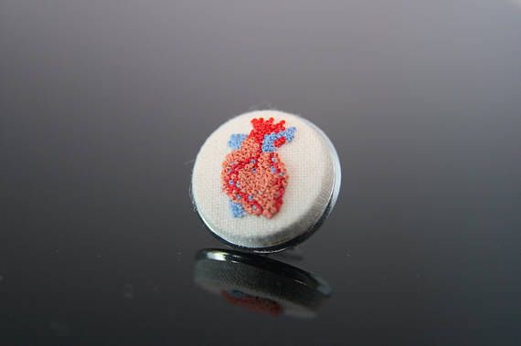 Anatomical Heart Pin.Unique valentines gift for him.Unusual