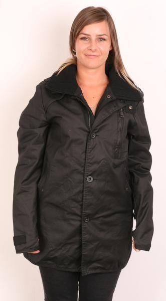 Superdry Womens L Jacket Black Buttons Down Collar Coat Wax Cotton - RetrospectClothes