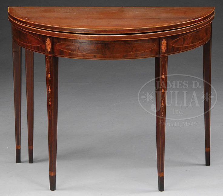 Federal Inlaid Mahogany Demilune Card Table Antiques