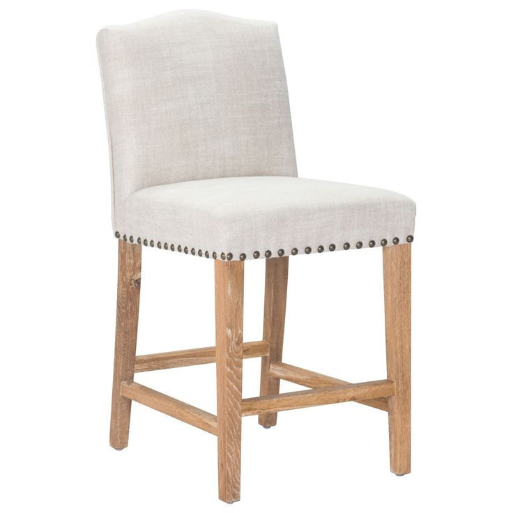 The Pasadena Counter Chair Has A Plush Seat With Beige Polyester Linen  Fabric; And Stunning Vintage Nail Head Details Applied To Seat.