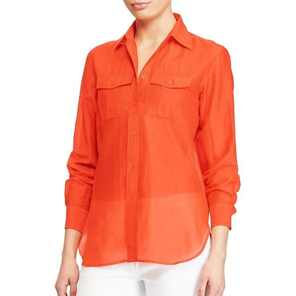 Lauren Ralph Lauren Petite Cotton-Silk Voile Shirt ($40) ❤ liked on Polyvore featuring tops, sunset orange, petite long sleeve tops, petite shirts, shirt top, orange shirt and orange long sleeve shirt