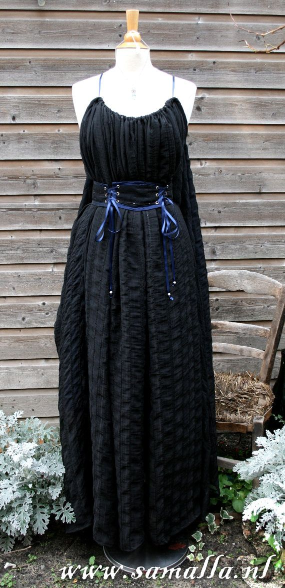 Shae Dress in Black crashed Chiffon Blue Taffeta with by SamallaNL