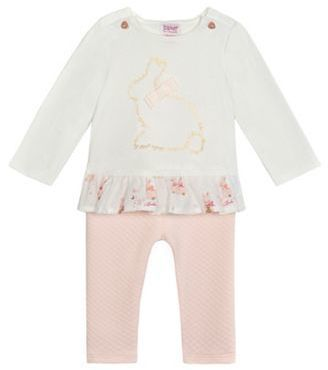 e4db6f63d Ted Baker Baby girls  white bunny top and textured leggings set ...