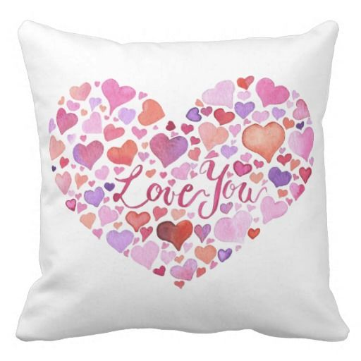 Watercolor Hearts Pillow with watercolor heart design