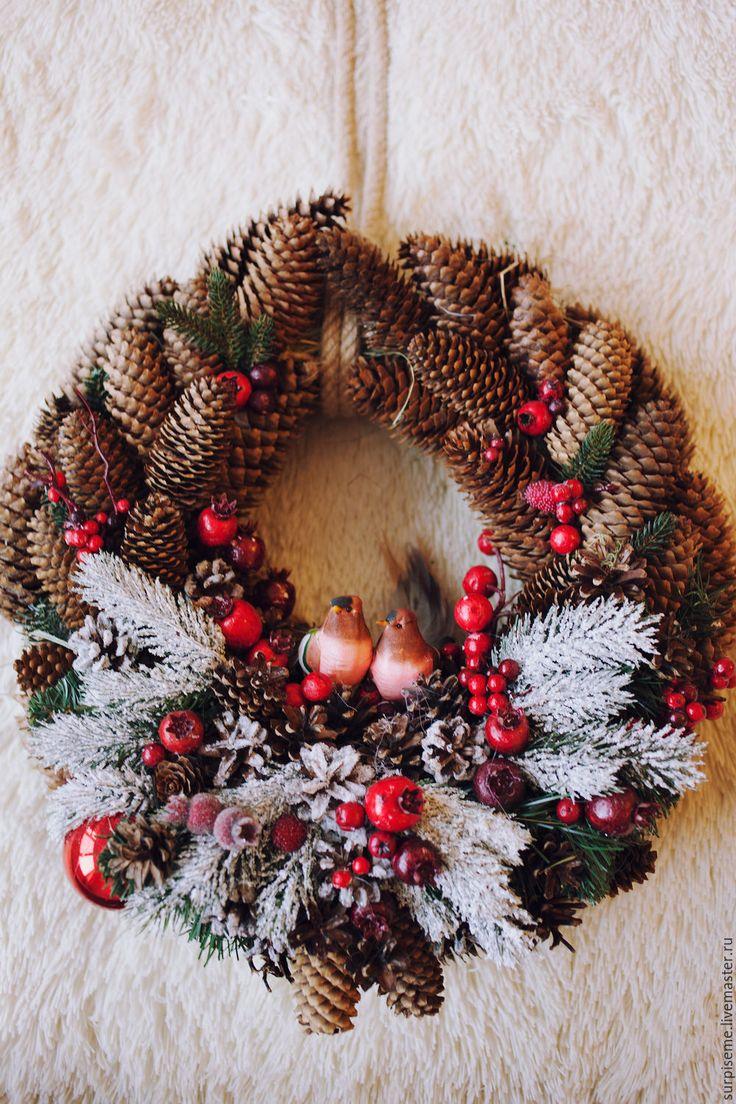 """Купить Новогодний венок """"Домашний очаг"""" - коричневый, еловый венок, венок на дверь"""