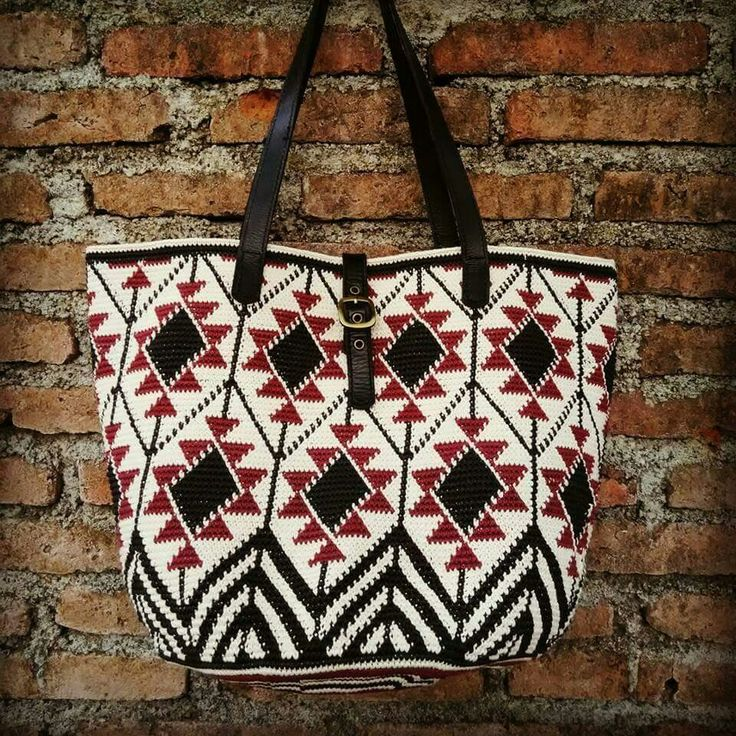 Tapestry crochet tote bag. Made from waxed cotton cord 1 mm.