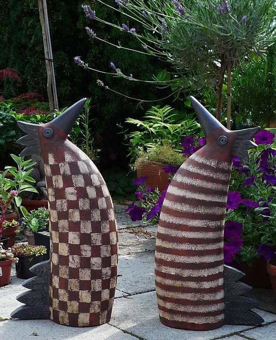 Keramik Hahn und Henne - Gartendekoration von Margit Hohenberger
