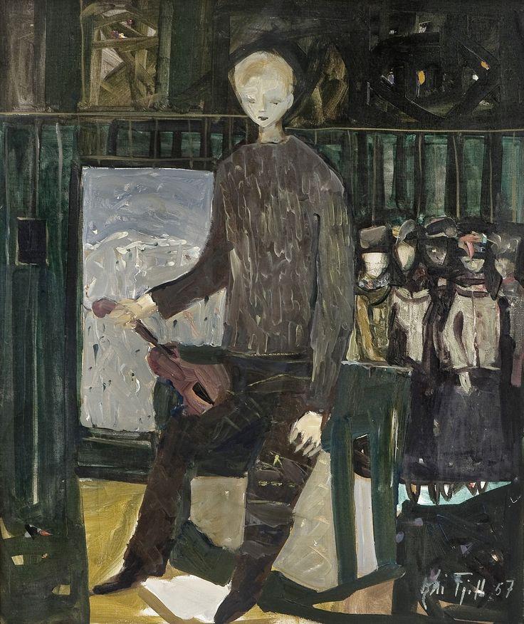 Fiddle player, 1957, Kai Fjell. Norwegian Painter, Printmaker (1907 - 1989).