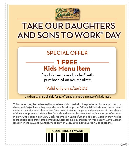 Free Olive Garden kids meal with paying adult...4/26 only
