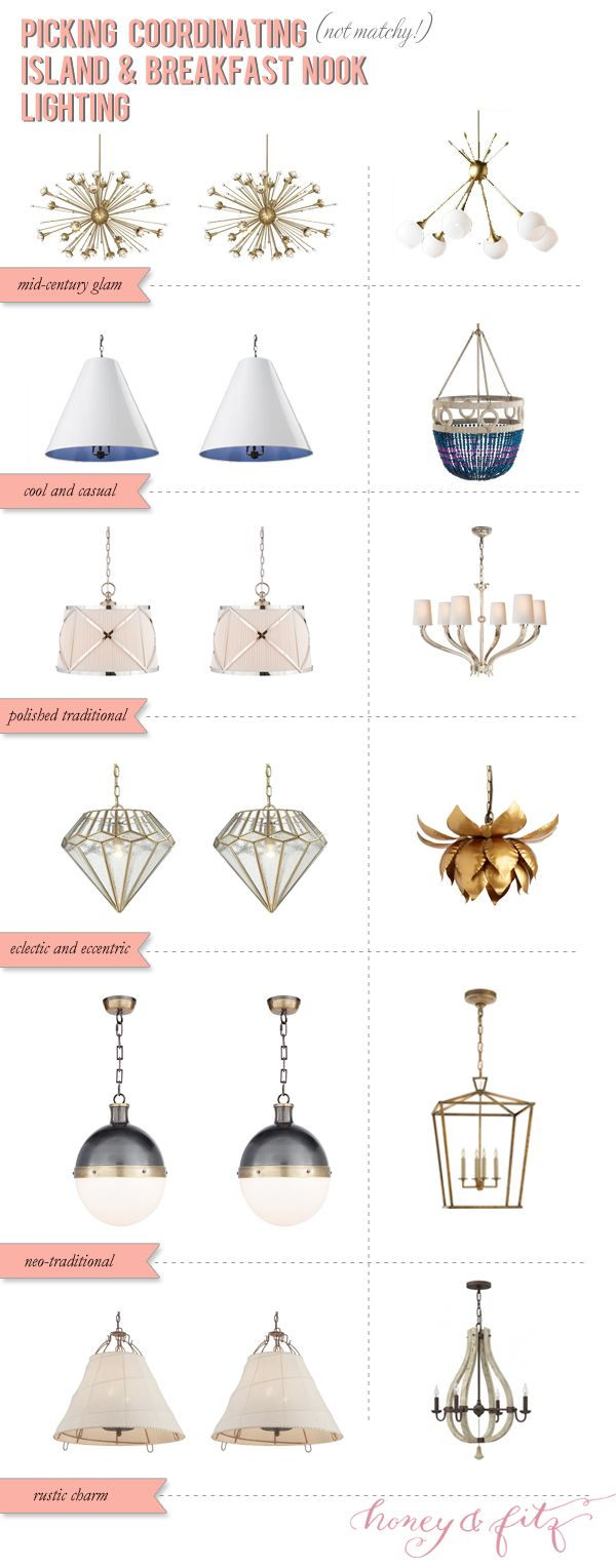 How to Choose Coordinating (not matchy) Island and Breakfast Nook Lights