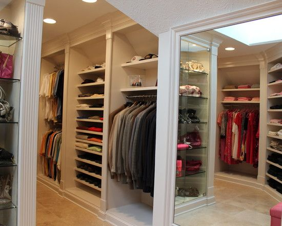 I like the his and hers sections of this huge walk in for His and hers closet