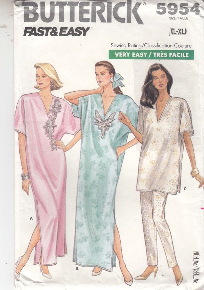 Caftan Top Pants A-line Pullover Sleeves Butterick Pattern 5954 Sizes L-XL  16-22
