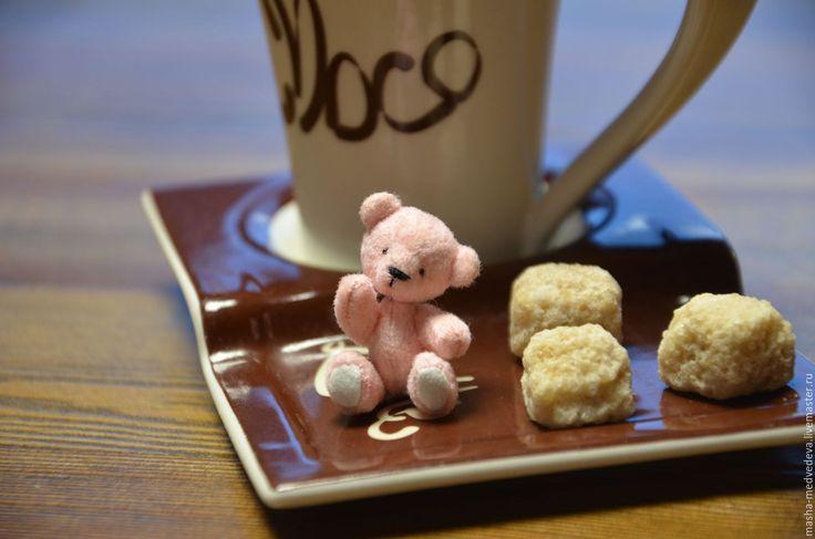 Купить Мишка Сахарок 4см - бледно-розовый, белый, бисер, мишка, мишка тедди