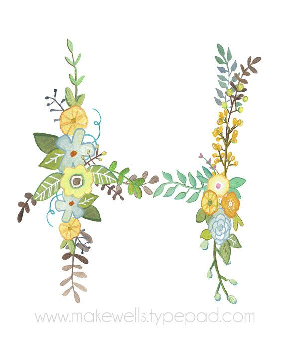 This is a lovely little interpretation of the letter H. This is a reproduction of my original illustration. It is professionally printed on high