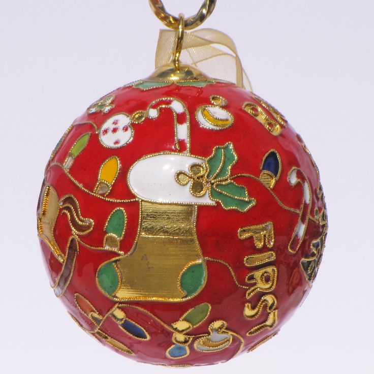 FIRST CHRISTMAS COLLECTION! Handcrafted, 24k gold plated cloisonne ornament - www.KittyKeller.com