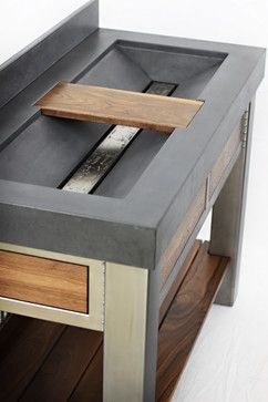 Concrete sink and brushed steel vanity - contemporary - bathroom sinks - seattle - Elements Concrete