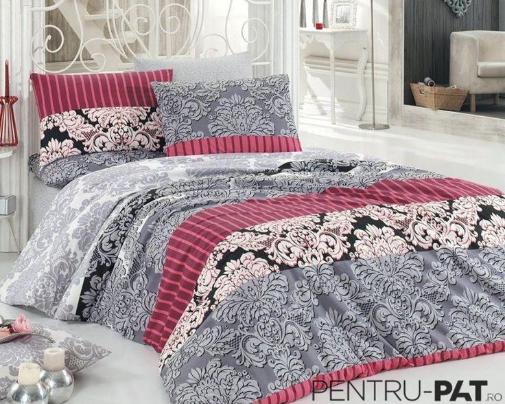 Set cuvertura pat pentru doua persoane Anatolia grey