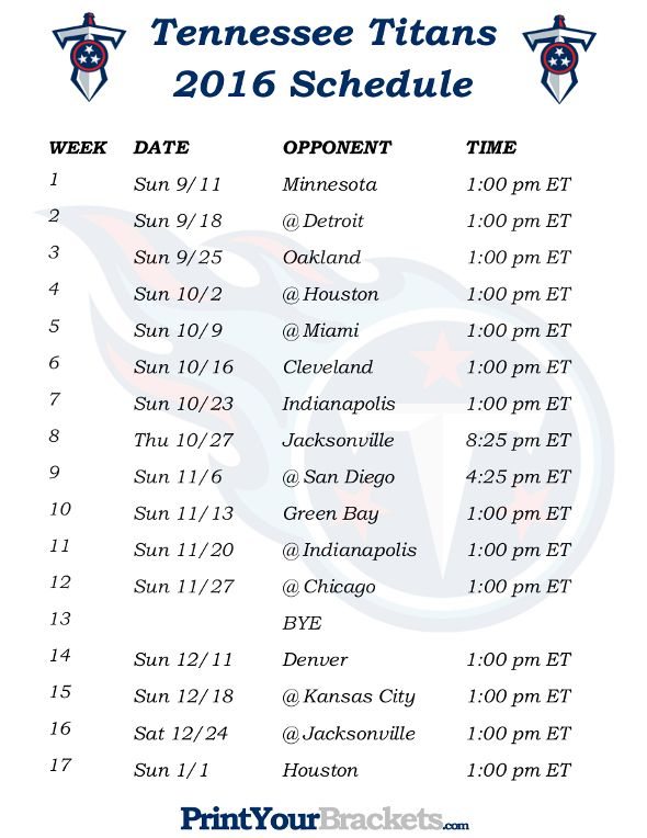 Printable Tennessee Titans Schedule - 2016 Football Season