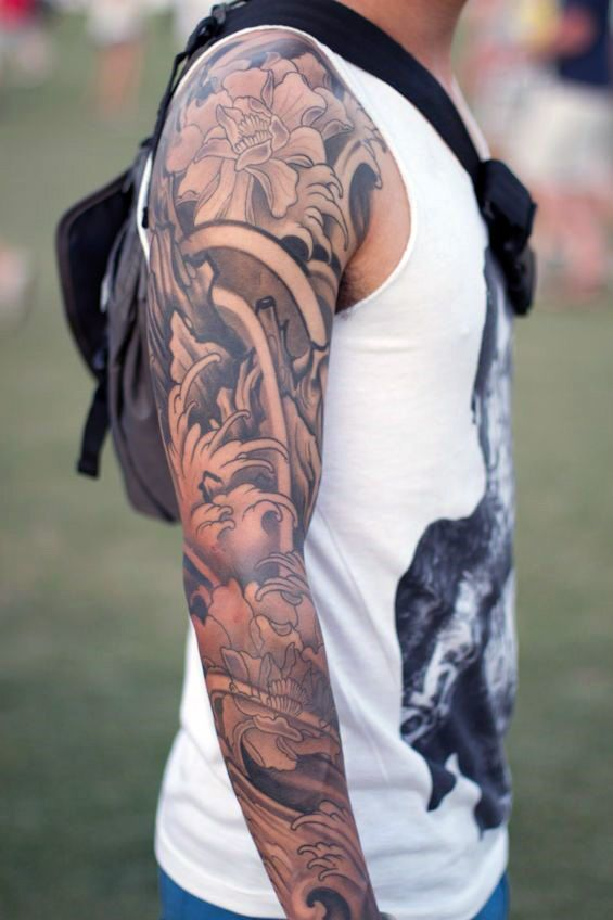 Black And Grey Sleeve Tattoos For Men