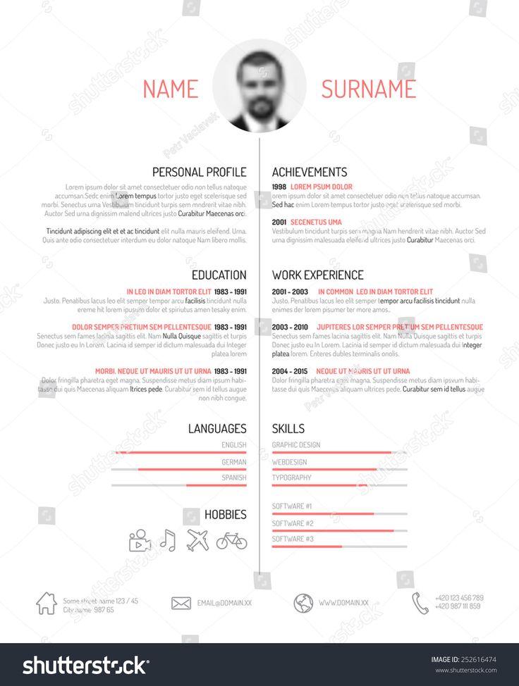 15 best resume template images on Pinterest Resume design