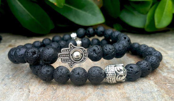 Mens Bracelet Bead Hamsa Bracelet Buddha Bracelet Black Lava Stone Prayer Beads Bohemian Positive Energy Protection Meditation Good Luck