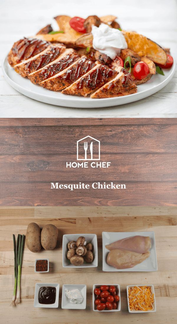 """Mesquite is a tree species native to Mexico and the American Southwest. When smoked, the wood imparts a distinctive sweetness and aroma to foods. Capture that essence with this spiced chicken breast served alongside """"loaded"""" potato wedges. This is a calorie-conscious meal that'll definitely light your fire."""