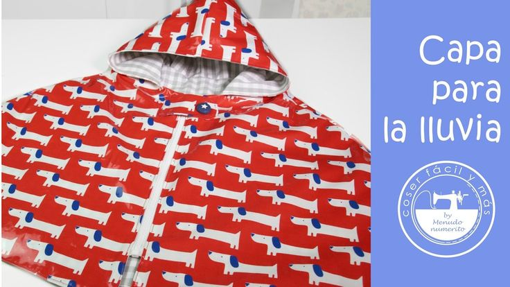 Capa impermeable o chubasquero para la lluvia. Encuentra la tela en: https://www.ulalatela.com/collections/telas-infantiles/products/tela-infantil-plastificada-perros-rojo