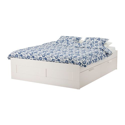 BRIMNES Bed frame with storage, white