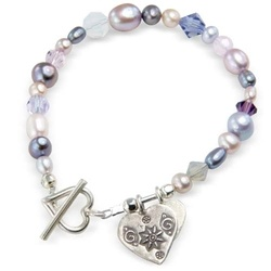 mauve and pink pearl and crystal bracelet with two silver heart charms for Valentines