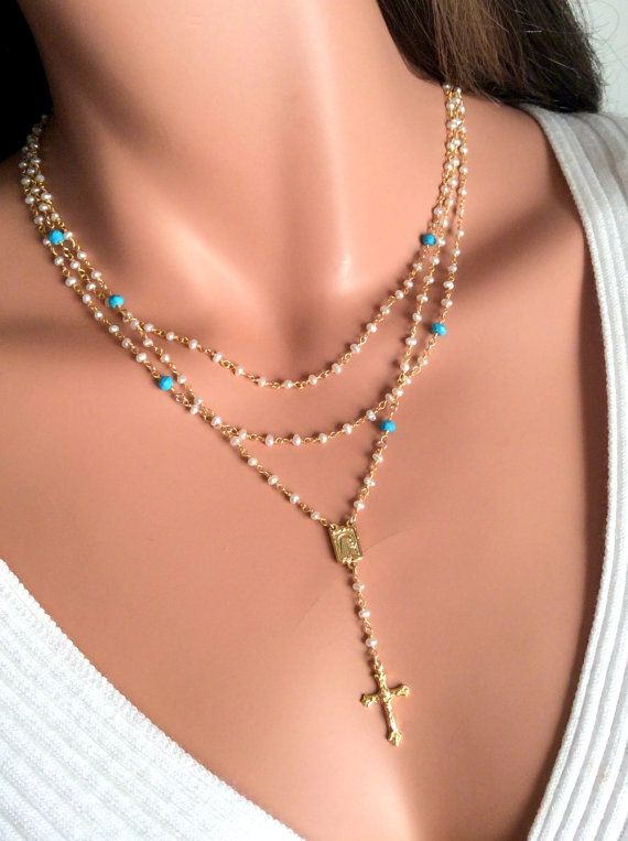 Pearl Rosary Necklace Turquoise Gemstone by divinitycollection $135 Customize your own cross necklaces visit www.etsy.com/shop/divinitycollection