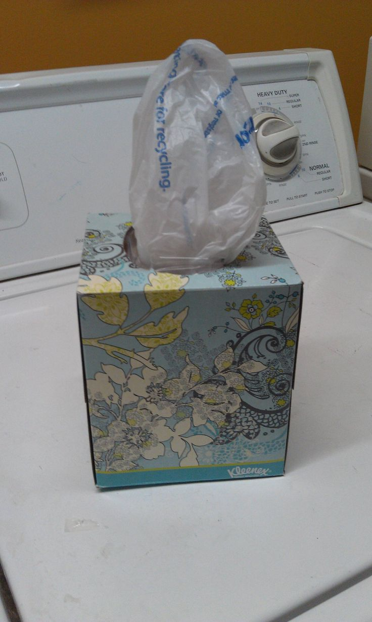Reuse, Renew, Recycle..... Keep plastic bags in old tissue box holders. Great for the car.
