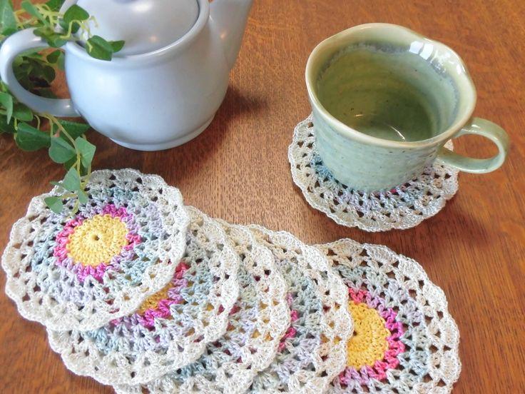 "Set of 6 Coasters , Crocheted Coaster , Japanese Handmade , Mini doily , Kawaii coaster , Under the Cup - 4""(10cm) #c12 by YuminaCafe on Etsy"