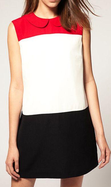 Red white black dress nice