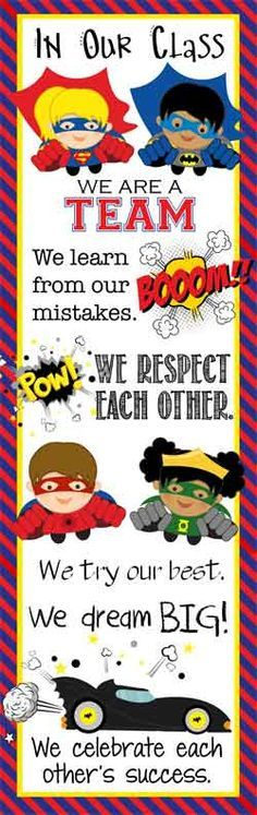 SUPER HEOR Theme Classroom Decor/ Character Education Banner /X- Large Banner / In Our Class / JPEG / ARTrageous FUN