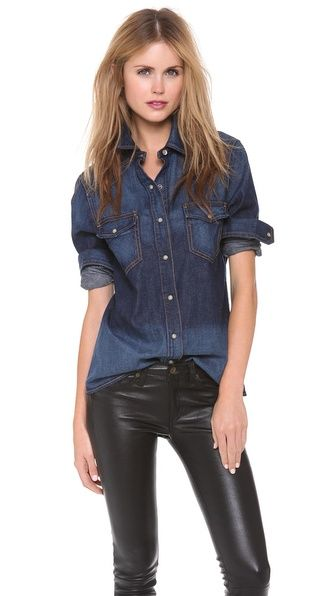 Rag & Bone/JEAN The Western Shirt with leather pants shopbop