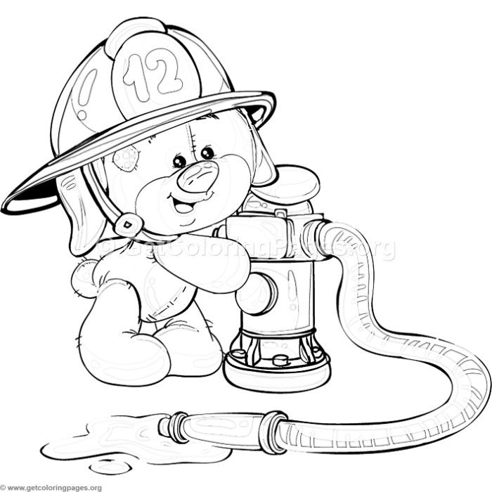 Free Download 3 Teddy Bear Firefighter Coloring Pages Coloring