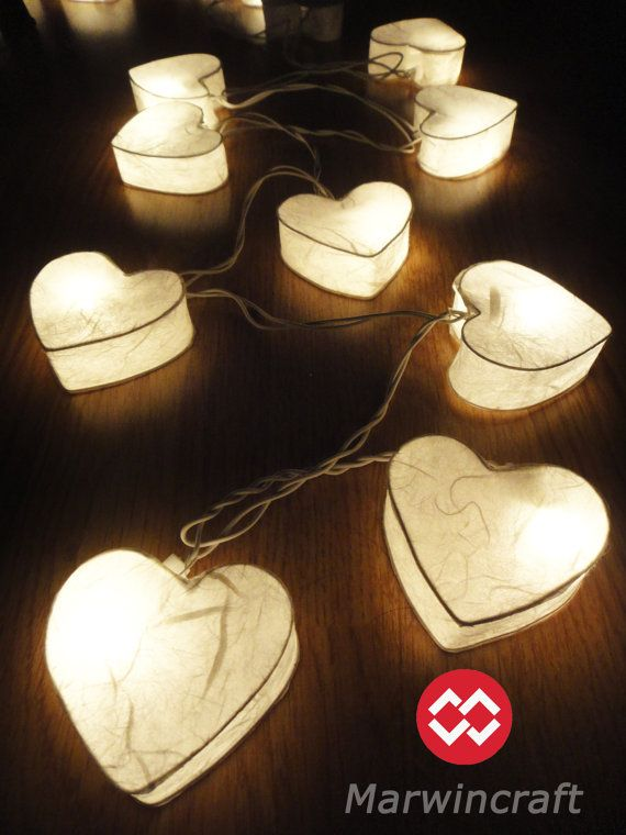 20 Romantic White Hearts LANTERN Paper Handmade Fairy String Lights Party Patio Wedding Floor Table or Hanging Gift Home Decor on Etsy, $14.78