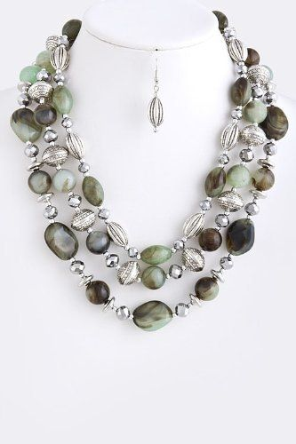 """Green And Silver Layered Stone Jewel Necklace - Silver Collar Ornament Drape Stone Necklace StarShine Jewelry. $19.50. Lobster claw clasp with 3"""" extender. Lead and nickel compliant. Length approx 22"""". Layered ornament stone necklace"""