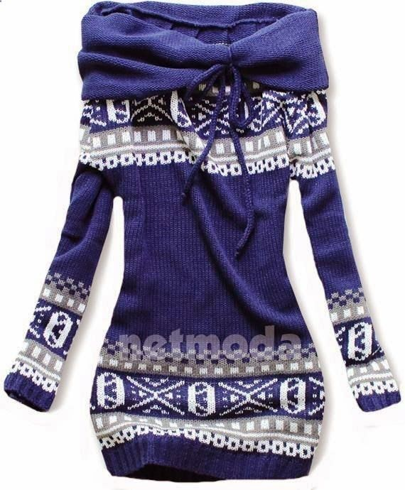 Blue & White Norwegian Style Sweater - LOVE IT!