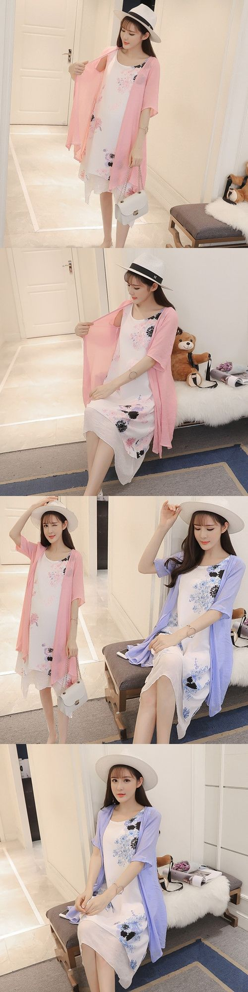 2017 summer pregnant women with 200 pounds wear loose cotton XL two piece Korean version of women's Maternity dress 636