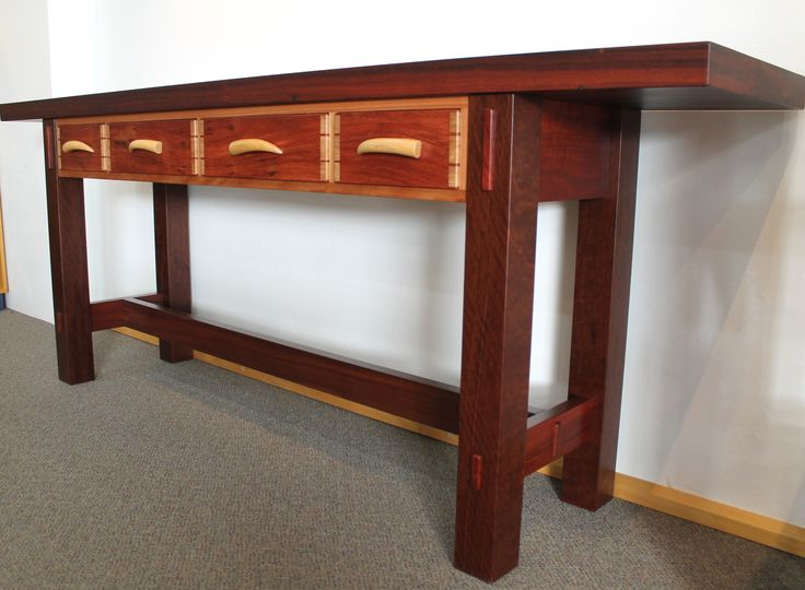 Four drawer jarrah table 2012 by Peter Cholmoneley