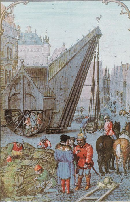 BRUGGE (Belgium) Kraan, miniatuur van 1510