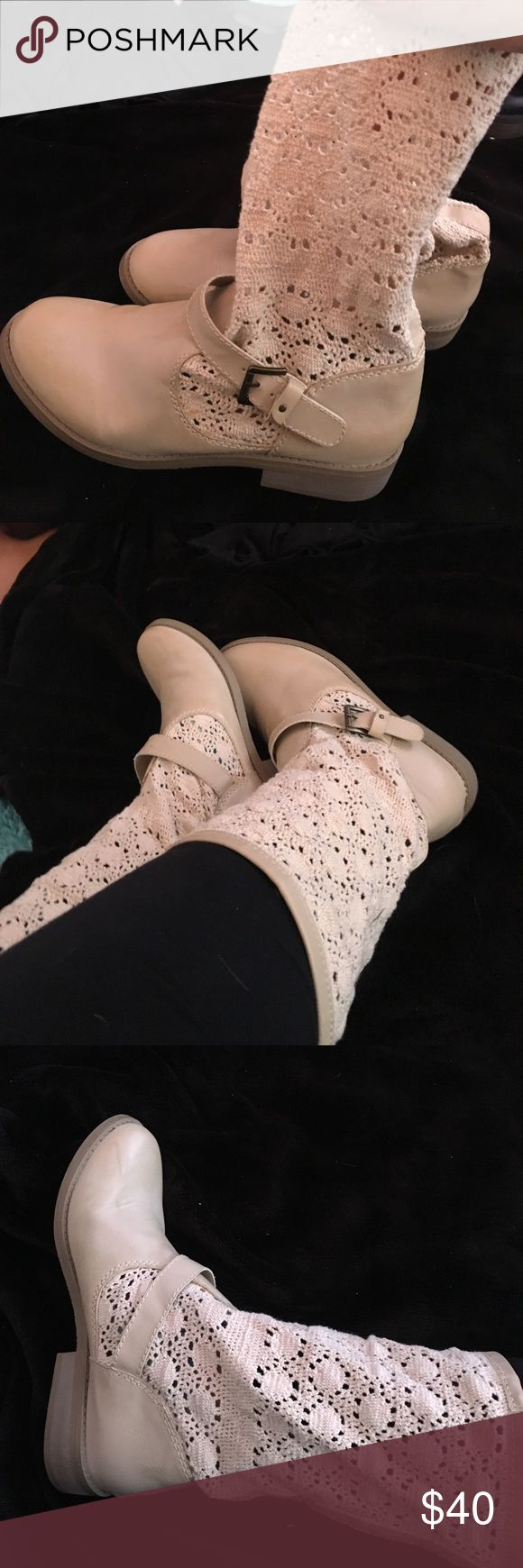 Lace Cream Boots / OFFERS ACCEPTED MUST GO Lacey Boots that go up to mid calf . good condition. UNIONBAY Shoes Combat & Moto Boots