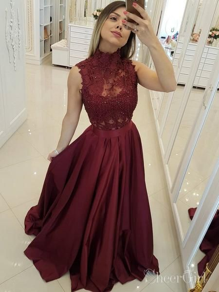 3bc89a3479f Dress formal long lace two pieces ideas. Cheap Maroon Prom Dresses Long  Military Ball Gown with High Neck ARD2096-SheerGirl