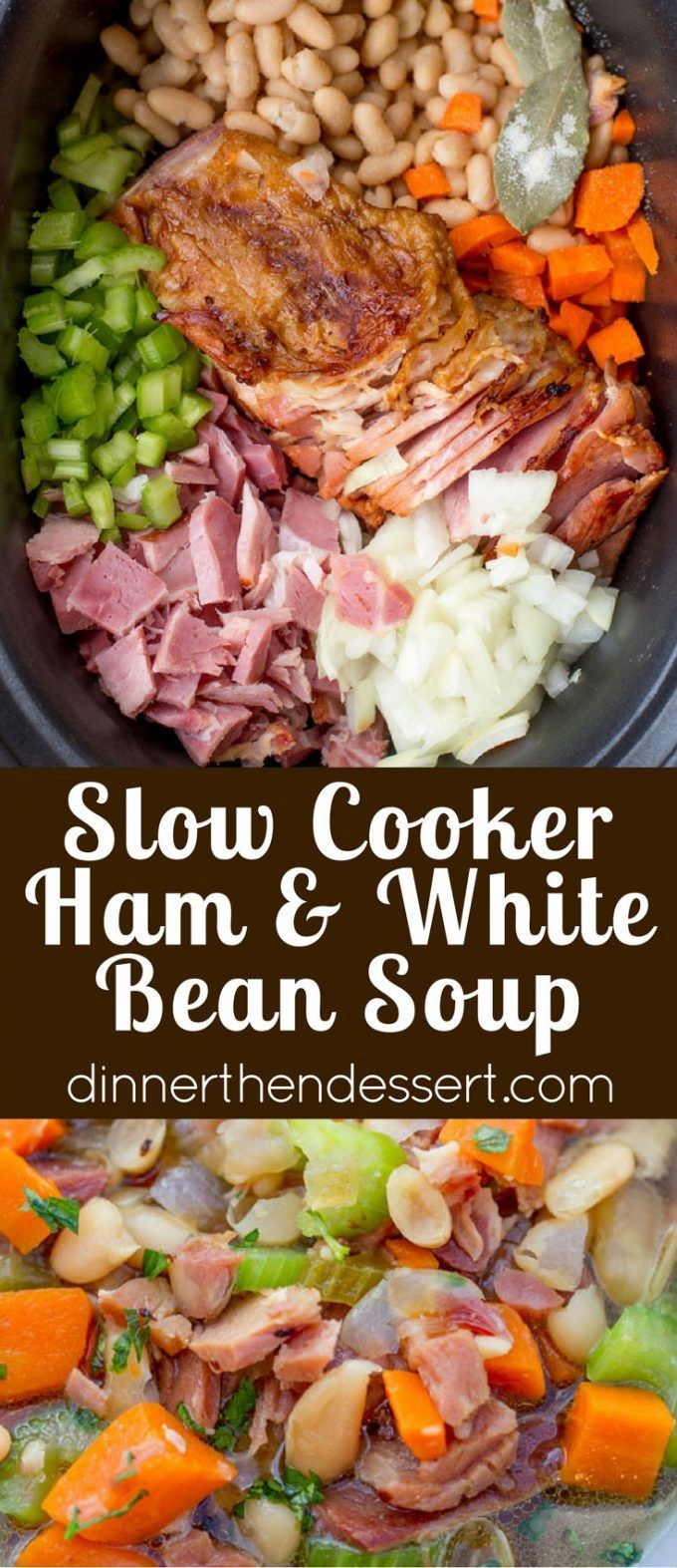 Slow Cooker Ham and White Bean Soup is the perfect recipe to make after you've enjoyed your holiday ham and want a cozy warm soup.