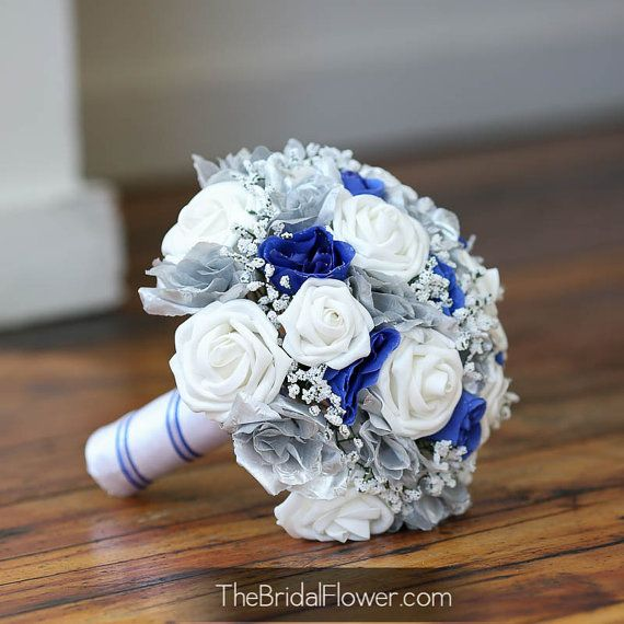 Royally Blue style wedding bouquet    Unique and beautiful! Made with soft touch roses silk rose buds in a lighter shade of royal blue (petal #winterwonderland