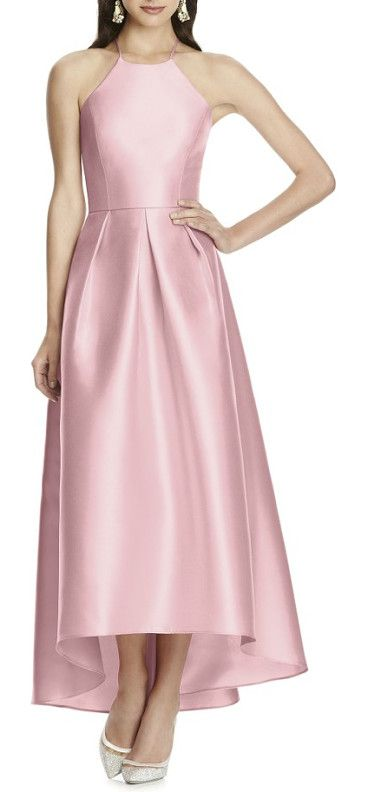 high/low hem sateen halter dress by Alfred Sung. A luminous gown of sateen twill is timelessly elegant with a fitted halter-neck bodice that gives way to a lushly pleated skirt. A gorgeous open back with crisscrossed straps and a rippling high/low hem add contemporary appeal to the des... #alfredsung #dresses